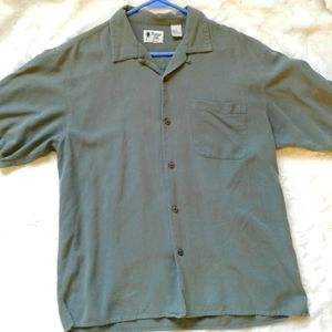 Mens L short sleeve shirt VINTAGE SILK  (100% silk)